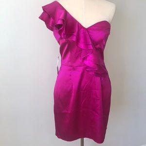 Hailey Logan fuchsia dress one shoulder NEW size L